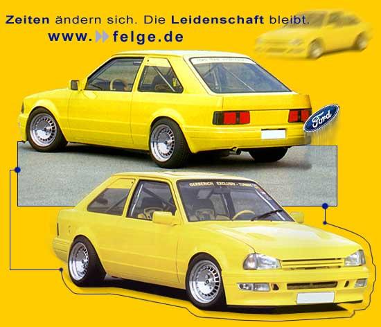 Revolution Felgen auf einem gelben Ford Escort.