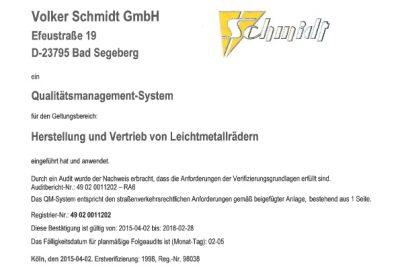 TÜV Zertifikat für die Erstellung von Felgen Gutachten in der Volker Schmidt GmbH